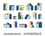 minimal flat houses. simple... | Shutterstock . vector #1429605665