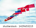 a beautiful view of the flags...   Shutterstock . vector #1429653215