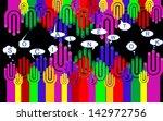 happy group of finger smileys...   Shutterstock . vector #142972756