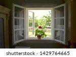 An Open Window With A Geranium...