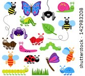 large vector set of cute... | Shutterstock .eps vector #142983208