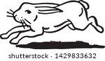 Stock vector running rabbit retro ad art illustration of hare 1429833632
