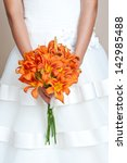 Bride Holding Wedding Bouquet....