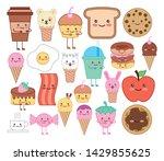bundle of emojis food kawaii...   Shutterstock .eps vector #1429855625
