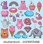 bundle of emojis kawaii...   Shutterstock .eps vector #1429855688