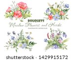 watercolor bouquets with... | Shutterstock . vector #1429915172