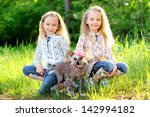 portrait of two little girls... | Shutterstock . vector #142994182
