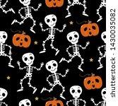cute skeleton dance and pumpkin ... | Shutterstock .eps vector #1430035082