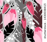 pink flowers on grey background   Shutterstock . vector #1430038415