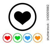 Heart Icon Vector with Four Color Variations