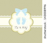 baby shower card for baby boy ... | Shutterstock .eps vector #143008996
