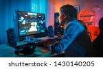 pretty and excited black gamer...   Shutterstock . vector #1430140205