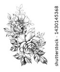 hand drawn bunch with big rose... | Shutterstock . vector #1430145368
