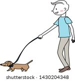 Stock vector cute man walking with a dog happy guy walking with his little dog man walking the small dog male 1430204348