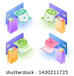 the credit card  paper euro and ... | Shutterstock .eps vector #1430211725