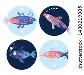 set of stylized fishes  sea... | Shutterstock .eps vector #1430219885