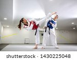 Small photo of Young woman training martial art of taekwondo with her coach, sportsmanship concept