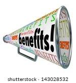 the word benefits on a bullhorn ... | Shutterstock . vector #143028532