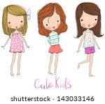 cute baby kids | Shutterstock .eps vector #143033146