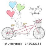 tandem bicycle wedding... | Shutterstock .eps vector #143033155