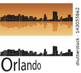 Orlando skyline in orange background in editable vector file - stock vector