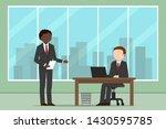 african american employee and... | Shutterstock .eps vector #1430595785