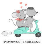 two lovers mouse on a bike ride.... | Shutterstock .eps vector #1430618228