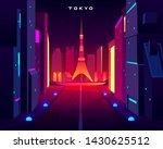 tokyo city night skyline with... | Shutterstock .eps vector #1430625512