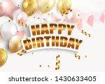 glossy happy birthday balloons... | Shutterstock .eps vector #1430633405