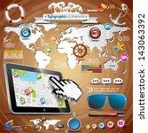 vector summer travel... | Shutterstock .eps vector #143063392
