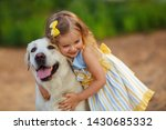 little girl with a labrador dog ... | Shutterstock . vector #1430685332
