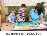 teacher two preschoolers and... | Shutterstock . vector #14307604