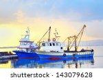 Fishing Boats Under A Sunset I...