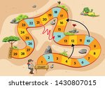 the snake and ladders game with ... | Shutterstock .eps vector #1430807015