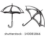 Umbrella collection isolated on white background
