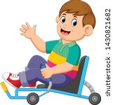 the boy is sitting on the...   Shutterstock .eps vector #1430821682