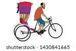 Rickshaw drive vector illustration of a male rickshaw driver traditional Indianian