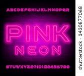 pink neon alphabet font. light... | Shutterstock .eps vector #1430877068