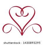 red heart mono line logo... | Shutterstock .eps vector #1430893295