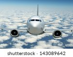 Commercial Airplane in flight  - stock photo