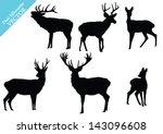 Set Of Deer Silhouettes. Vector