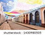 Flags hanging in the streets of são luis do maranhao for the festival of sao joao, bumba meu boi