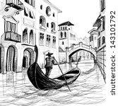 Gondola In Venice Vector Sketc...
