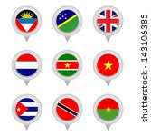 set of map flag icon  vector | Shutterstock .eps vector #143106385