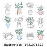 vector set of cute house plants ... | Shutterstock .eps vector #1431076922