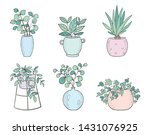 vector set of cute house plants ... | Shutterstock .eps vector #1431076925