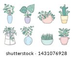 vector set of cute house plants ... | Shutterstock .eps vector #1431076928