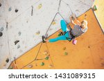 bouldering  girl climbing up... | Shutterstock . vector #1431089315