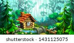wooden house in the forest.... | Shutterstock .eps vector #1431125075