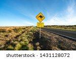 an iconic kangaroo road sign... | Shutterstock . vector #1431128072